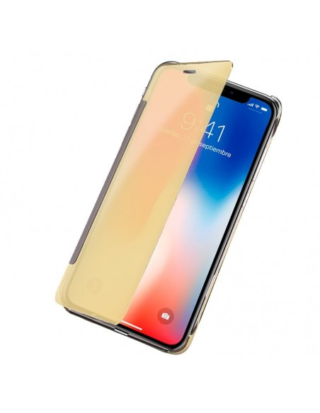 Funda Flip Cover iPhone X Clear View Dorado