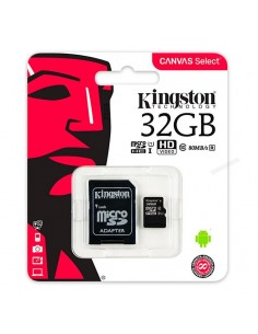 Tarjeta memoria MicroSD con adaptador 32GB Kingston (Clase 10)