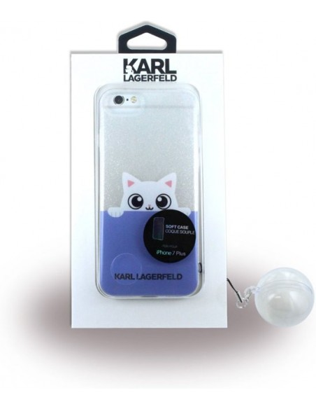 Carcasa TPU iPhone 7+ Plus / 8+ Plus licencia Karl Lagerfeld diseño Clear Cat