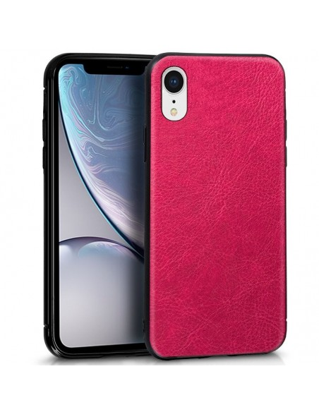 Carcasa TPU iPhone XR Leather piel rosa