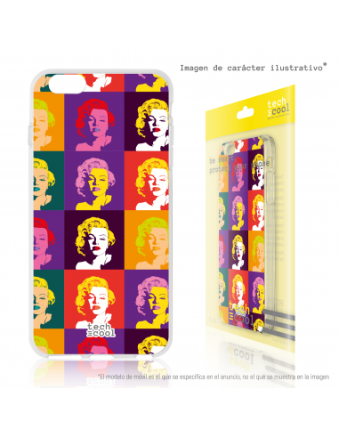 Carcasa gel TPU flexible personalizada Marilyn Mosaico Colores Wharhol